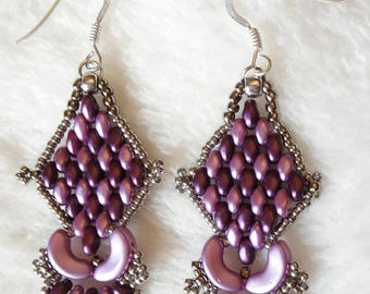 "Earrings ""East"" in purple and lilac glass beads"