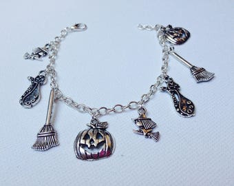 Bracelet charms, bracelet charms, haloween, witch, broom, night