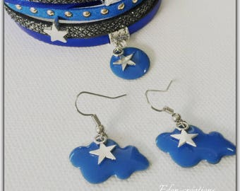 Enamelled sequin blue cloud earrings