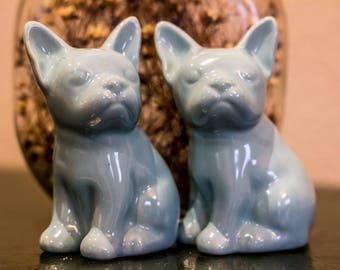 Vintage Stoneware Baby Blue French Bulldog / Boston Terrier Salt and Pepper Shakers Turquoise Green