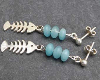 Earrings silver fish bones and jade, turquoise