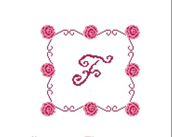 Listing Monogram cross stitch roses F