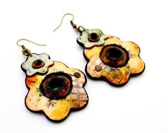 Earrings green and orange-imitation enamel.