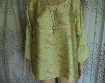 Blouse, tunic size 38/40/42/44/46 women: green, yellow, pink and Brown polyester satin.