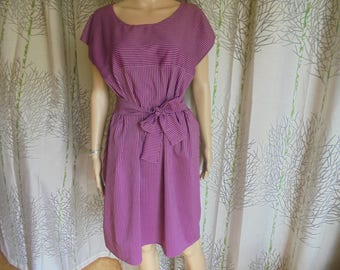 Size 36/38/40/42/44/46/48 cotton plum raspberry stripes of pink very light women dress.