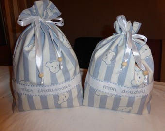 """My blanket and my slippers - Teddy and bird embroidered bags"""""""