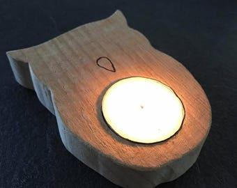 OWL candle holder in natural wood (no varnish)