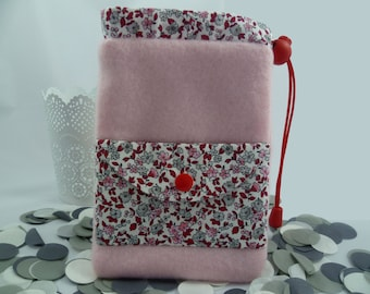 Pocket notebook or camera AOR fabric and pink floral