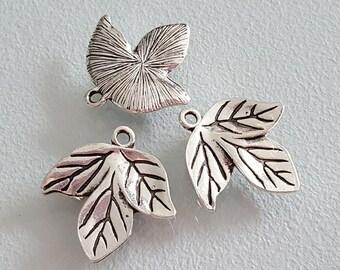 6 silver leaf charms 20 mm jewelry feuiile leaf charm pendants