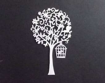 "Set of 10 white cuts ""trees"" for your scrapbooking creations."