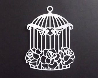 "Set of 10 white cuts ""birdcage"" for your scrapbooking creations."