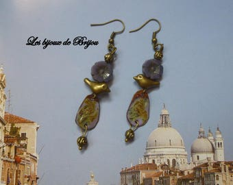 Bronze romantiquesen enameled metal, Czech beads and metal earrings