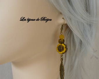 Earrings feather long boho chic yellow/orange and bronze Czech bead flower and pendant