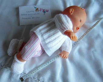 """Bra and """"white"""" slippers premature baby or doll 40 has 45 cms"""