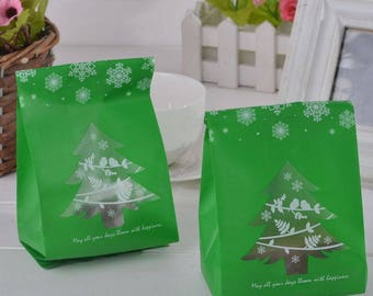 10 sachets bags pouches Father Christmas green gift child 19.2x9.2cm within 15 days