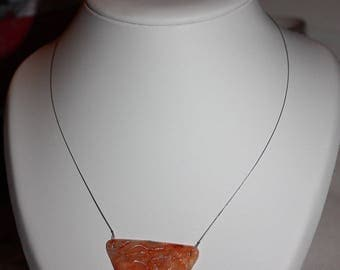 orange ink and polymer clay necklace
