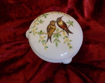 Candy box or jewelry porcelain box handpainted birds