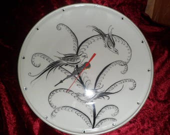 Bird pattern porcelain plate clock