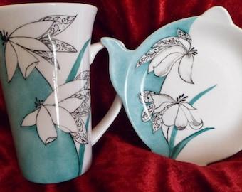 customizable modern flower pattern tea bag rests and mug set