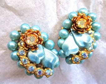 50-60s Aqua Blue Beaded Earrings Aurora Borealis Rhinestones Flowers Gold Tone Clip On