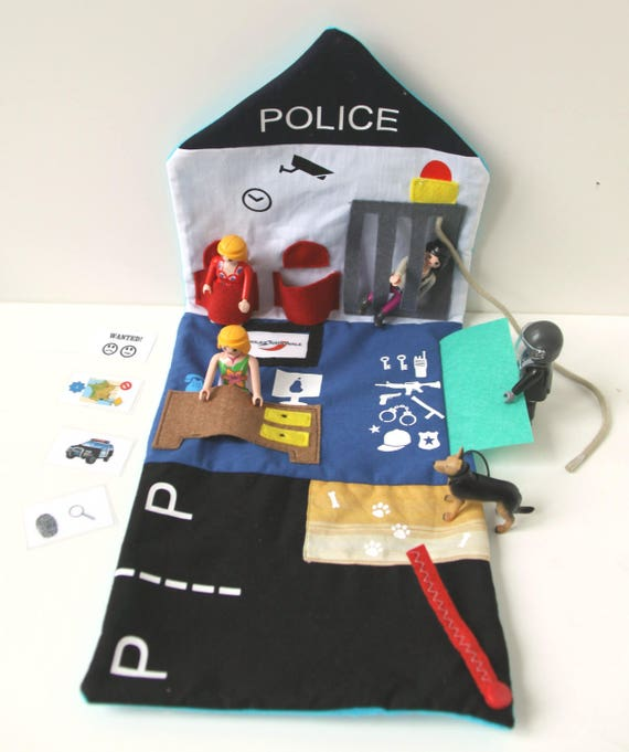 Tapis de jeu pour enfant le poste de police pour personnage - Caserne de police playmobil ...
