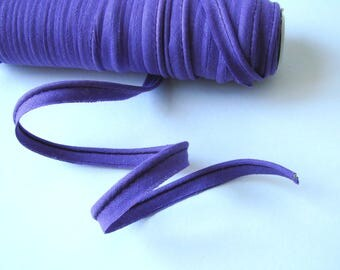 Ribbon piping, 10 mm, purple, cotton, sold by the yard