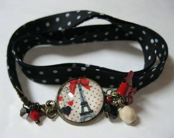 """Bracelet 2 laps vintage/retro fabric with dots and """"Paris"""" 18mm glass cabochon"""
