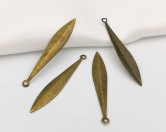 10 charms shuttle 34x6mm form drop in bronze metal (B1)