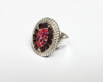 Oval mosaic red and bronze metal Adjustable ring silver