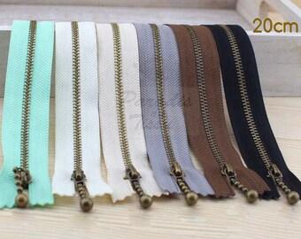 Set of 6 zippers zipper 20 cm Six classic colors