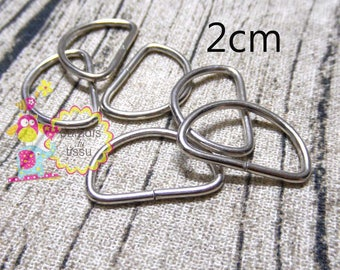 Set of 20 Stirrup shaped D silver 2cm 2mm wire
