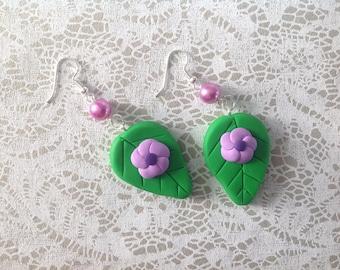 leaves and purple flowers earrings