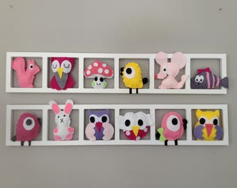 Wall frame - new born baby made of felt figures - pink and lilac