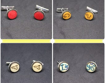 Customizable wooden cufflinks