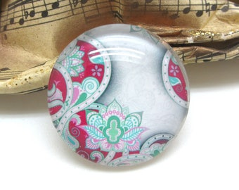 1 cabochon 25 mm glass floral Paisley 1-25 mm