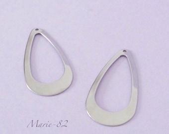 2 charms / pendants Teardrop - stainless steel