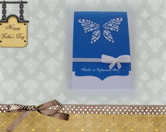 Blue and white lace butterfly and bow