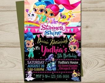 Shimmer and shine birthday, shimmer and shine invitation, shimmer and shine party, shimmer and shine printable, shimmer and shine card