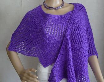 scarf knit shawl handmade asymmetric, delf blue.
