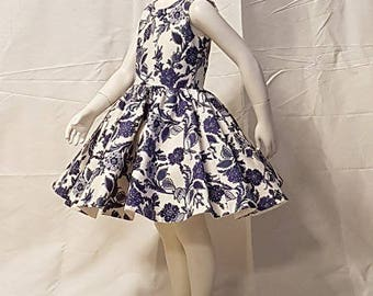 GIRL DRESS.  Blue and white fabric.  HAND MADE