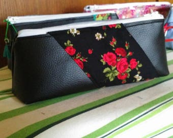 semi black leather and cotton clutch red flowers