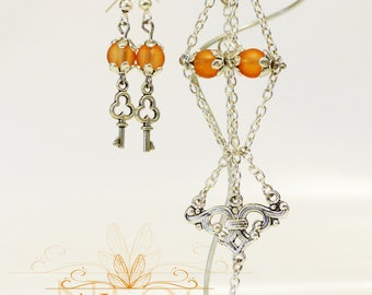 Earrings and matching bracelet, orange