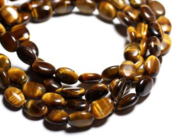 2PC - 4558550015044 - 14x10mm oval Tiger eye - stone beads