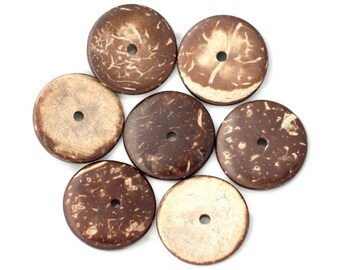10pc - 25mm Brown - 4558550001245 washers coconut wood beads