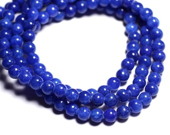 20pc - beads - Jade 6mm Royal Blue Balls - 8741140001114