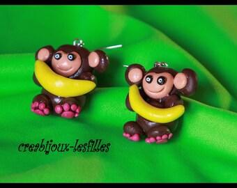 monkey banana fimo earring