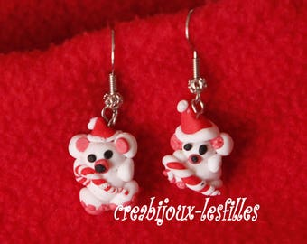 polymer clay earring small white Teddy bear Christmas anniversary jewelry gift jewelry greedy polymer clay, earring
