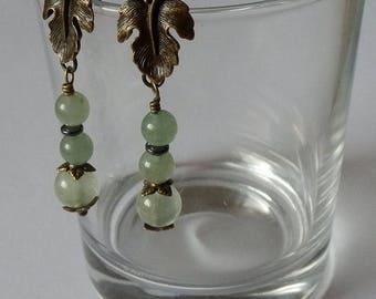 Philomena Phrenite, green aventurine, hematite earrings