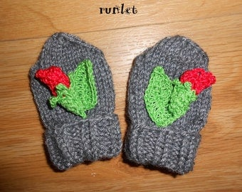 (baby) born in gray wool mittens