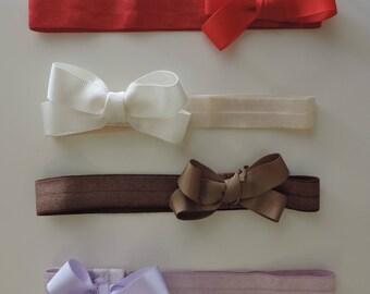Baby headband and bow, Elastic headband with 1.5 cm ribbon bow, baby girl hair bow